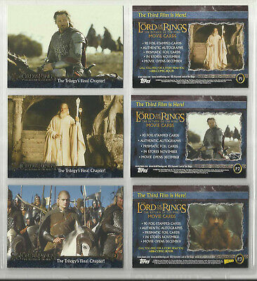 """2003 Lord of the Rings: Return of the King LOT OF 3 """"Promo Cards"""" (P1-P2-P3)"""
