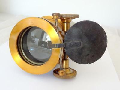 """Antique 7"""" MAGIC LANTERN LENS / CAMERA F = 135mm APX' LACQUERED BRASS VERY CLEAN"""