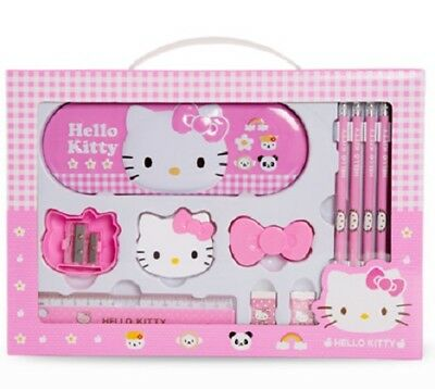 Hello Kitty Stationery Gift Box Set Metal Case Pencils Erasers Sharpeners Ruler
