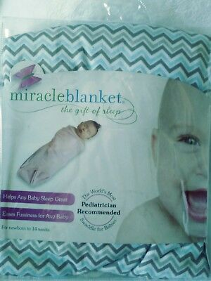 Miracle Blanket- Baby Swaddling Blanket - Newborn to 14 weeks, Blue /Gray