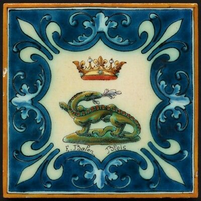 TH2966 Rare Dinosaur/Salamander Antique Tile Hand Painted Longwy France c.1900