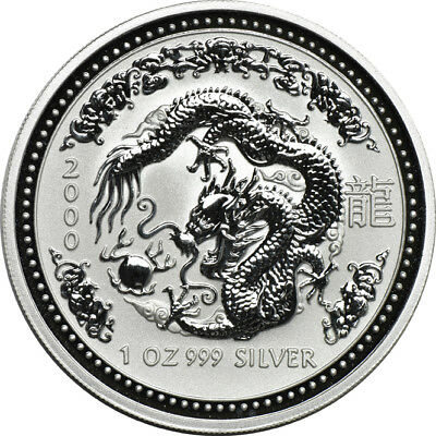 2000 1oz Silver Lunar Year of the Dragon Australian Series 1 Commemorative $1