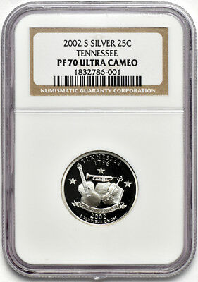 2002 S Silver Tennessee Statehood Quarter 25c NGC PF 70 Ultra Cameo