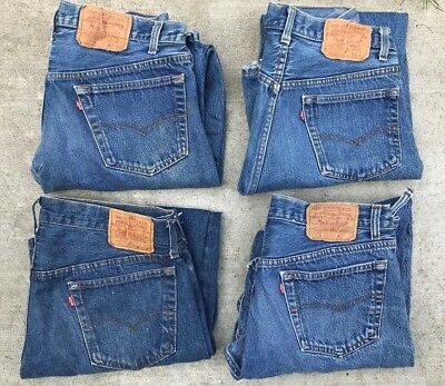 4 Pr Vtg Late 80's LEVI 501 Button Fly Made In USA Denim Blue Jeans 32x30 34x28