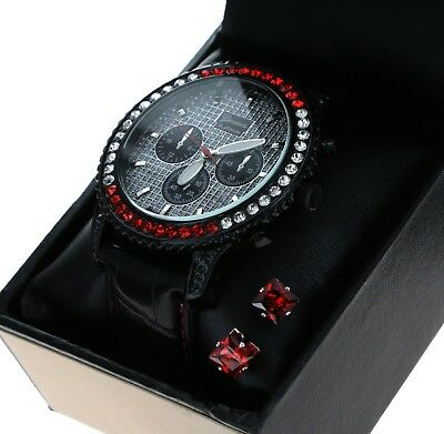 Men Hip Hop Iced Out Black Leather Band CZ Luxury Rapper;  Watch Free Earring
