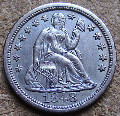 1848 Liberty Seated Dime, F-102a, R-4, Early Date, Tough This Nice, AU/BU Slider