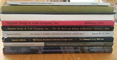 Box of 10 Vintage Stack's and Superior Coin Catalogues  1954-1998
