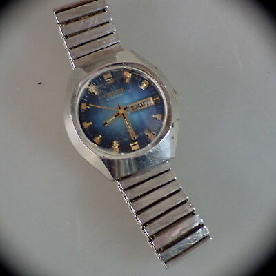 Seltene blaue Herrenarmbanduhr Citizen 6501 Automatic um 1970 (48254)