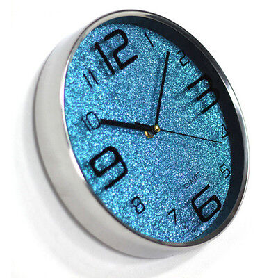 Creative Lobby Living Room Round Stainless Steel Clock Glitter Wall Clock 6972HC