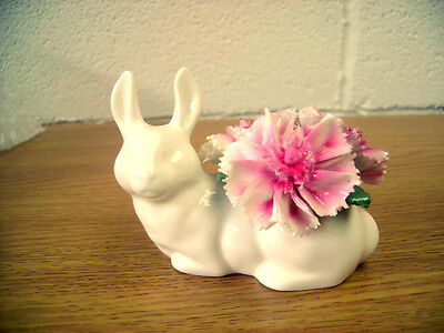 Crown Staffordshire White  Rabbit With Three Pink Carnations On Its' Back