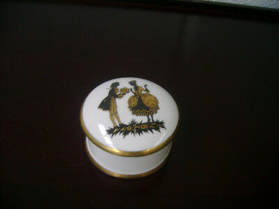 Crown Staffordshire Pill Box   Black And Gold Couple