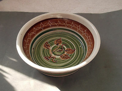 Pottery Bowl Int He Style Of Jersey But No Maker  Green And Brown Pattern