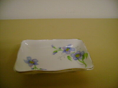 Crown Staffordshire Oblong Pin Tray With Blue Flowers