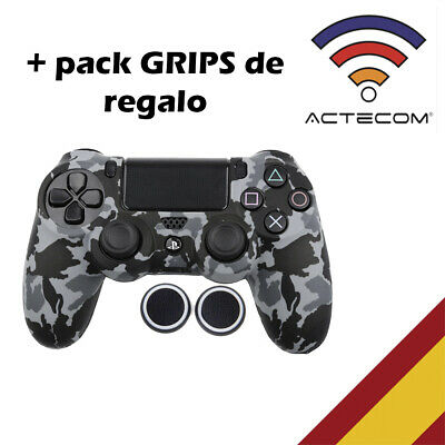Actecom® Funda + Grip Silicona Camuflaje Gris Mando Sony Ps4 Playstation 4
