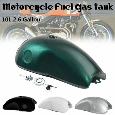 Motorcycle 10l Cafe Racer Fuel Gas Tank Tank Cap Set For Suzuki