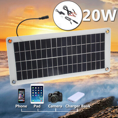 12V 20W Semi-Flexible Pro Solar Panel Efficient+5V USB Cable For Battery Charge