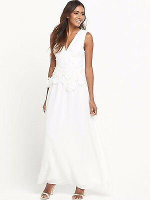 french connection floral summer white long manzoni party maxi dress 10 38 us 6
