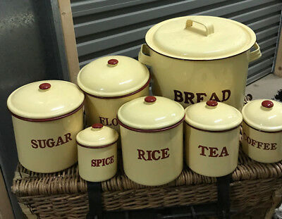 Cannisters Complete Set Vintage Style Cream Enamel Pick up or Post