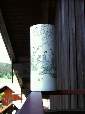 Vase chinese  Calligraphie handpainted Kalligraphie porcelain hat stand ancient