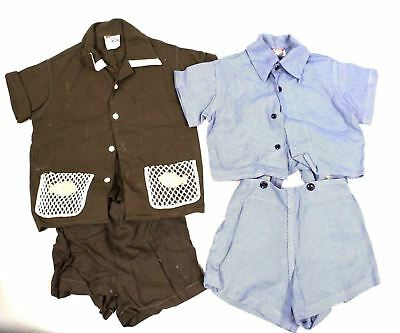 2 VTG Boys Summer Shorts Suit Blue Gab J.H. Baruch & Dandy Duds Brown SZ 5 50s