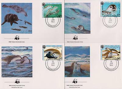 Mauritania 1986 World Wildlife Fund - Monk Seal - 4 First Day Covers FDC - (14)
