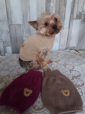 Hand knitted dog puppy jumper coat sweater small dog chihuahua / mini yorkie.