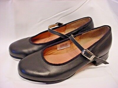 Girls Size 13 1/2 Bloch Black Leather Mary Jane Tap Shoes