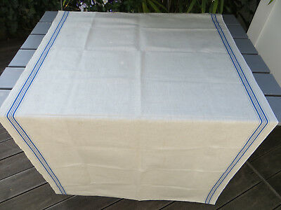 "Unused Manglecloth Mangle Cloth Bleached Linen Blue Stripes 35 by116"" FREE Shipp"