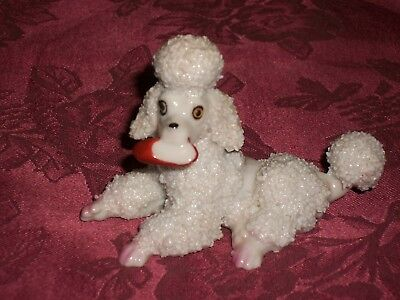 1960s White Spaghetti Porcelain Sitting Poodle Figurine w/Slipper in Mouth Japan