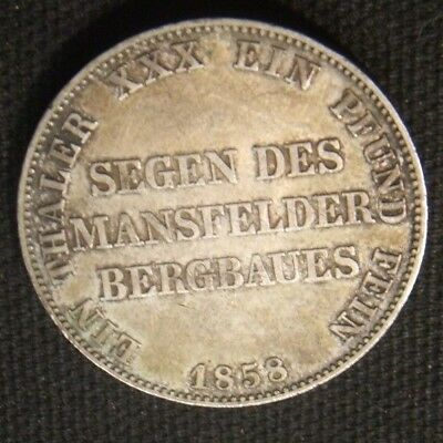 1858-A~~German Thaler~~Berlin~~Rare~Silver~~Au-Unc Toning Beauty  Km# 472