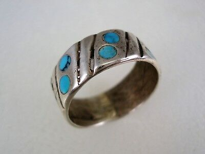 OLD NAVAJO STERLING SILVER & TURQUOISE DOUBLE DOT INLAY BAND RING size 8.5