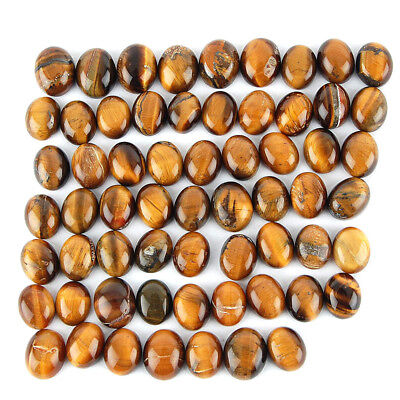 197 Cts/62 Pcs Untreated Natural Tiger Eye Oval Cabochon Gemstone Wholesale Lot