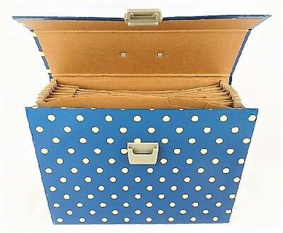 Expanding File Case and Paper Clip Set in Navy/Cream