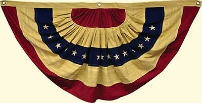 New Country Primitive Aged Tea Stained  AMERICAN FLAG BUNTING Americana Swag 30""