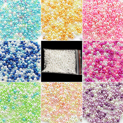 500XSimulation Round Spacer Loose Beads No Hole DIY Craft Jewelry Making 2.5-5mm