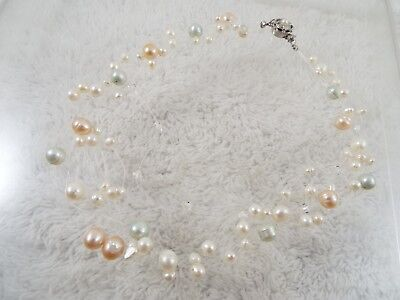 Pale Pastel Genuine Pearl & Glass Bead Invisible Line Necklace (D50)
