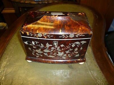 Good Georgian Mother Of Pearl Inlaid Faux Tortoiseshell Tea Caddy