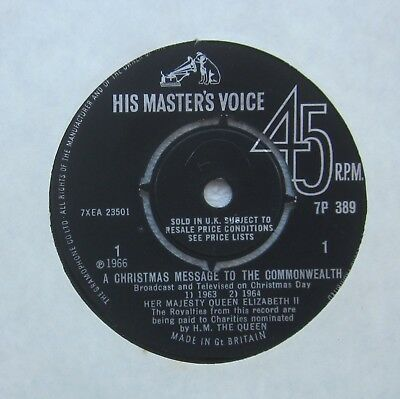 1966 QUEEN ELIZABETH II CHRISTMAS MESSAGE TO THE COMMONWEALTH RECORD HMV 45 rpm
