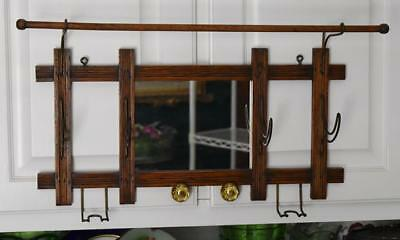 Lovely Antique Victorian Eastlake Wall Hung Hall Coat Rack With Mirror