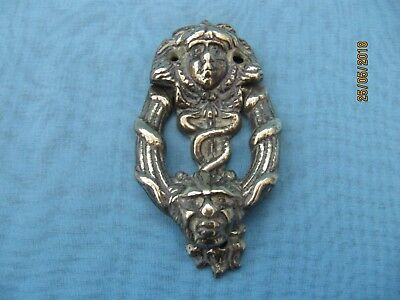 Vintage ~ Cast Brass Entwined Snakes & Head  ~ Small Door Knocker