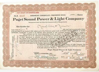 Lot of 7 1922-1939 Puget Sound Power & Light Co. Stock Certificates #108840* X