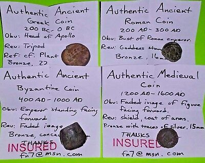 COLLECTION of GREEK ROMAN BYZANTINE MEDIEVAL COINS 200 BC old lot antique silver