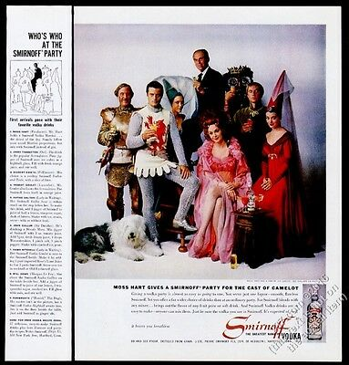 1961 Old English Sheepdog & Camelot cast photo Smirnoff Vodka vintage print ad