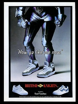 1988 British Knights shoes 3 styles knight in armor photo vintage print ad
