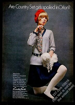1968 woman with toy poodle photo Country Set striped dress vintage fashion ad