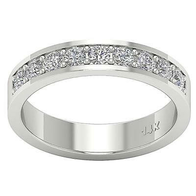 Anniversary Wedding Ring I1 H 0.80Ct Real Diamond White Gold Appraisal Size 4-6