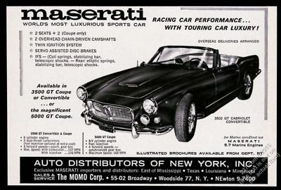 1962 Maserati 3500GT 3500 GT convertible car photo vintage print ad