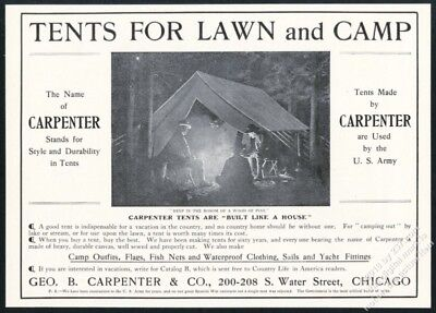 1904 Geo B Carpenter tent camping campers vintage print ad