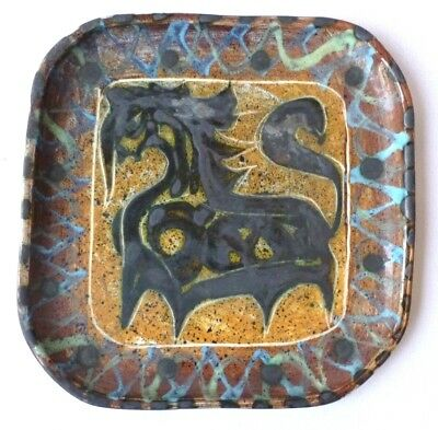 RARE Early Celtic Pottery, Cornwall Maggi Fisher design Horse pattern plate