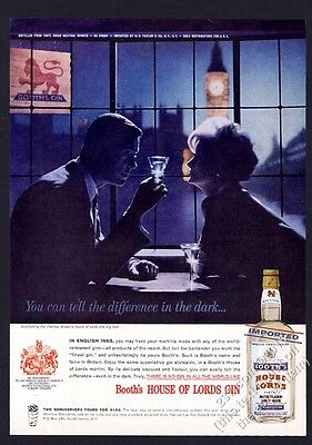 1962 Booth's House of Lords Gin romantic London Big Ben evening photo print ad